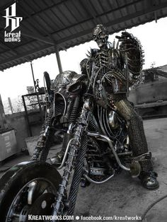 Metal Sculpture - Recycled Metal Skull Rider ( made-to-order )