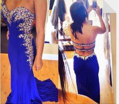 2015 Royal Blue Prom Dresses With Sweetheart Sexy Backless Big Sparkling Crystals Mermaid Formal Evening Gowns Party Dress