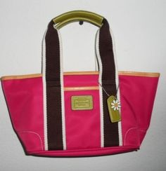 100 Authentic Coach Hamptons 6260 Pink Brown Lime Green Tote Urban Sassy | eBay