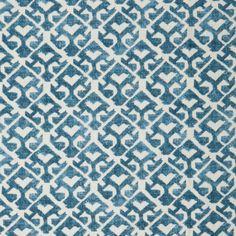 "Carolina Irving Textiles Tamar Indigo hand printed on 100% linen Repeat: 8.5"" H x 9.25"" V"