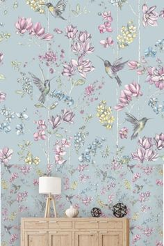 A beautifully drawn and painted multicolour floral design featuring elegant hummingbirds on a soft blue ground. #hummingbirdwallpaper #wallpapers #floralwallpaper Nature Wallpaper, Wallpaper S, Hummingbird Wallpaper, Hummingbirds, Blue Backgrounds, Floral Design, Cool Designs, Charmed, Elegant