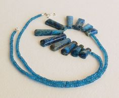 Imperial Jasper Necklace with Blue Apatite and Sterling Silver Clasp. Statteam