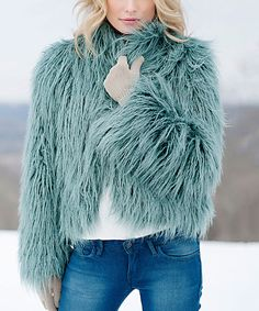Teal Mongolian Faux Fur Fashionista Jacket - Plus Too #zulily #zulilyfinds
