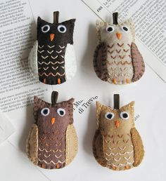 Hoot Owl embroidered felt Christmas tree ornaments. I know we have already  made a lot of owls, but they were very cute.