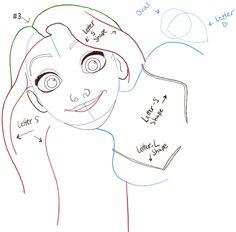 how to draw rapunzel step by step slowly