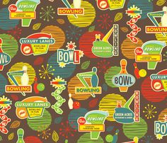 Bowling is Fun for Everyone - New at Spoonflower!   Oh...what to make...what to make...?