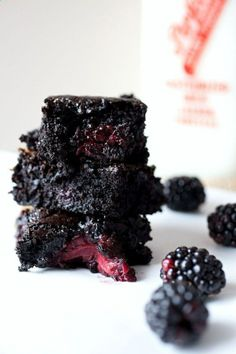 Salted Caramel Blackberry Brownies - I'd recommend cutting the blackberries in half and you don't need to put the caramel in the middle- just drizzle on top and bake!