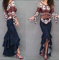 Hot fashion curvy Need layers of lotus leaf stitching fishtail skirt denim skirts denim skirt traili