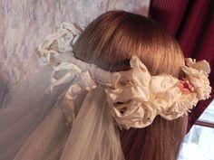 VINTAGE RIBBON FLOWERS Cream White French Acetate Wired Ribbon Wedding Wreath, Bridal Headpiece, Floral Wedding Crown. $79.00, via Etsy.