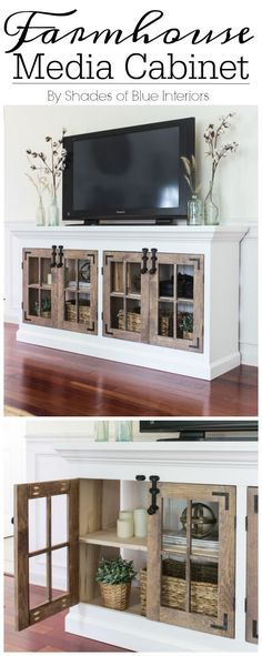Farmhouse Media Cabinet with lots of storage, double 4 pane cabinet doors on each side, surface bolt hardware, and crown moulding.