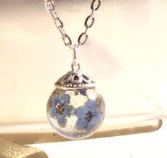 Forgetmenot Real Pressed  Flower Resin Orb by GardenGemsJewelry, $17.95
