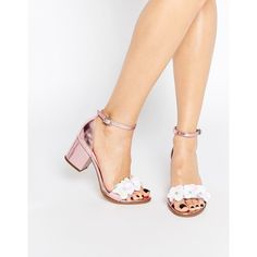 ASOS HEXAGON Embellished Heeled Sandals ($77) ❤ liked on Polyvore featuring shoes, sandals, pink, asos sandals, embellished sandals, pink heel sandals, faux leather sandals and floral print shoes