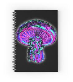 Trippy Shroom spiral notebook by GrimDork. shrooms, colorful, 420