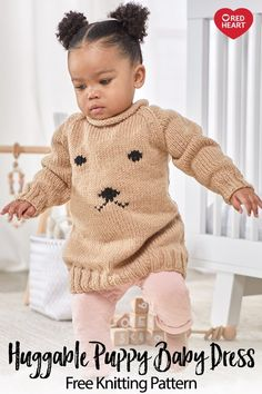 Huggable Puppy Baby Dress - This cozy dress is fashionable over leggings or jeans. Knitting Blogs, Knitting For Kids, Easy Knitting, Baby Knitting Patterns, Baby Patterns, Sewing Patterns, Knit Baby Sweaters, Baby Knits, Knit Baby Dress