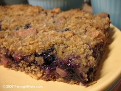 apple blueberry crumble bars - served this warm for breakfast - tasted wonderful!