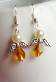 Angel Dangle Christmas Earrings by TeaByDesign on Etsy