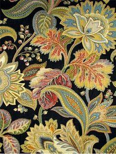 Valdosta Night Sky - beautiful Jacobean fabric, multi colored and beautiful details.