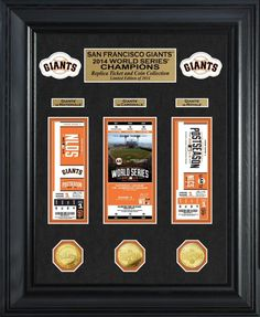 """San Francisco Giants 2014 World Series Champions Deluxe Gold Coin & Ticket Collection Limited Edition of only 2014! Featured in a black 22"""" x 18"""" wood frame with 2.5"""" wide molding and double matting are exact replicas of Post Season Game Tickets from the Division Series, League Championship Series and World Series combined with their respective championship coins minted in gold flash. Proudly Made in the USA."""