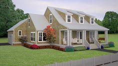 Home Plan HOMEPW77190 - 2325 Square Foot, 3 Bedroom 2 Bathroom + Cape Cod Home with 2 Garage Bays | Homeplans.com
