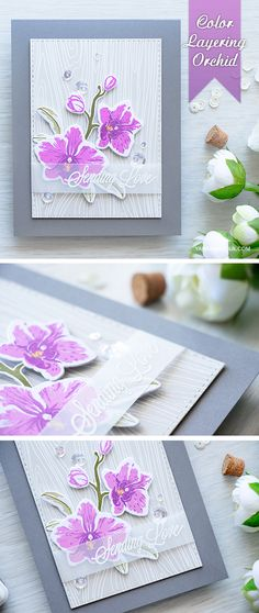 Create stunning orchids for your cards using Color Layering Orchid and Orchid in a Pot stamp sets from Hero Arts. Visit http://www.yanasmakula.com/?p=53393 for more info.