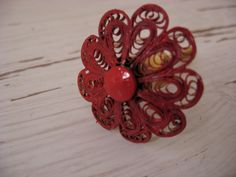 Set of 8 Red Wire Scroll Floral Hand Finished Knobs or Pulls for your Drawers or Cabinets Great for Girls or Women. $45.00, via Etsy.