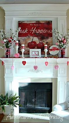 VALENTINES DAY Mantel . . Charming Idea.