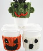 Free Crochet Halloween Coffee Buddies Pattern.