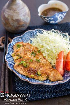 JAPANESE Ginger Pork (Shogayaki) 1/2 lb. thinly-sliced pork loin (I use sukiyaki meat) 1/4 onion 1 clove garlic 1 inch ginger (about 1 tsp.) Salt Freshly ground black pepper 1 Tbsp. oil 1 scallion, finely chopped Seasonings 2 Tbsp. soy sauce 2 Tbsp. mirin 2 Tbsp. sake 1 tsp. sugar