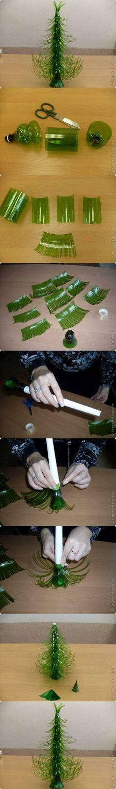 DIY Plastic Bottle Christmas Trees