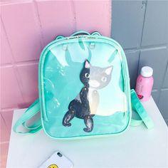 MSMO Lovely Cat Ear Leather Backpacks Candy Color Transparent Bag Women Shoulder Bags School Teenage Girls Travel Bagpack Itabag