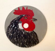 OOAK Hand Painted CDs Rooster Painting Owl by MaidenLongIsland