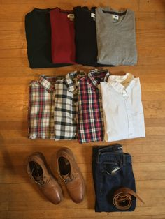 Green, red, black and grey v-necks. Layer with with any flannel or just wear it by itself