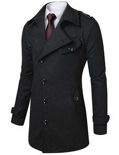Doublju Men's Slim Fit Half Coat With Belt