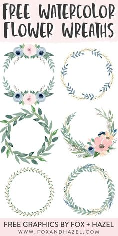 6 Free Beautiful Watercolor Flower Wreaths - Watercolor Ideas and Instructions - # . 6 Free Beautiful Watercolor Flower Wreaths – Watercolor Ideas and Instructions – # Watercolo Free Watercolor Flowers, Watercolor Flower Wreath, Watercolor Water, Watercolor Design, Floral Watercolor, Watercolor Paintings, Watercolor Ideas, Watercolor Landscape, Free Clip Art Flowers