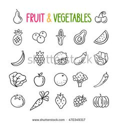 Fruit and vegetables hand drawn vector set. Healthy eating doodles. Vegetarian food outline icons