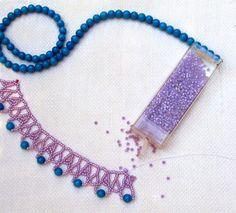 Summer Violet Necklace - FREE Bead Pattern by Sandra D. Halpenny at Sova Enterprises.com