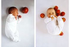 apple photo shoot - take pictures monthly of your growing baby with an appropriate amount of apples!