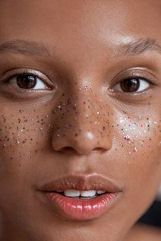 Glamorous yet subtle gold fleck freckles.