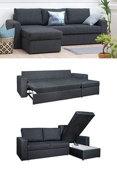 MARIAGER Reversible sofa bed offers pull-out bed and storage compartment in the chaise. Durable dark Grey polyester fabric and foam seating. Sofa Bed Blue, Sofa Bed Lounge, Ikea Sofa Bed, Sofa Couch Bed, Sofa Sleeper, Couch Storage, Corner Sofa Bed With Storage, Small Couch With Chaise, Small Sofa