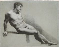 Pierre-Paul Prud'hon French (Cluny 1758 - 1823 Paris) Male Nude Figure Resting, c. 1815-1820 Drawing
