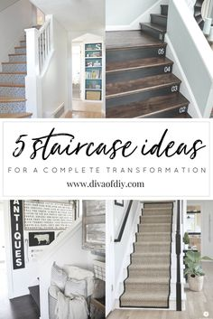 Your staircase is one of the first opportunities you have to show off your sense of style.  Check out these 5 must-see staircase ideas that will transform your entry in a weekend. http://divaofdiy.com/staircase-ideas/?utm_campaign=coschedule&utm_source=pinterest&utm_medium=Diva%20of%20DIY%20%7C%20Tutorials%20For%20Your%20Favorite%20DIY%20Projects&utm_content=5%20Must-See%20Staircase%20Ideas%20For%20A%20Complete%20Transformation