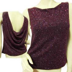 Women BLACK Glitters Sparkle RED DRAPE Open BACK Sleeveless TOP Night Party  $59.98   #XScapebyLawrenceKurtz #Blouse #EveningOccasion