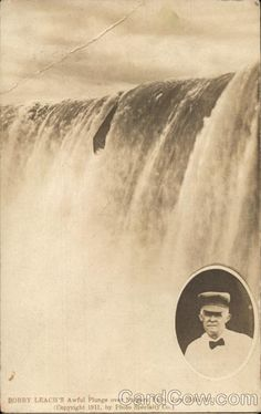 Bobby Leach's Awful Plunge Over Niagara Falls, 1911 Postcard