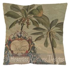 French Pillow 100% Cotton Canvas Burlap Antique Florida Map Palms Beige Green…