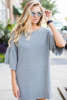 Heathered Stripe Dress – Swoon Boutique
