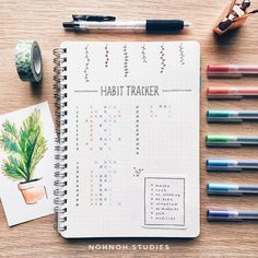 """Mi piace"": 4,718, commenti: 57 - Kalon「notes & bujo」 (@nohnoh.studies) su Instagram: ""A simple habit tracker that I am currently using right now. There is so much I need to catch up on…"""