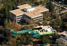 LASD Super Puma Air-5 Rescue Helicopter flies over LASD Headquarters In Monterey Park(Photo by Skip Robinson).
