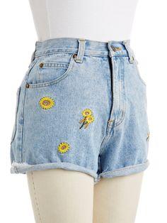 Vintage Sunflower Cutoff Shorts