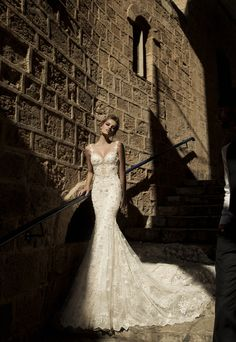 La Dolce Vita ‹ Galia Lahav - Pricilla - Tight lace mermaid dress with a  sheer 498a1c81de95