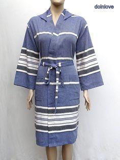 Women's XL size or men's M size navy blue colour soft Turkish cotton lightweight hooded bathrobe, lightweight dressing gown.